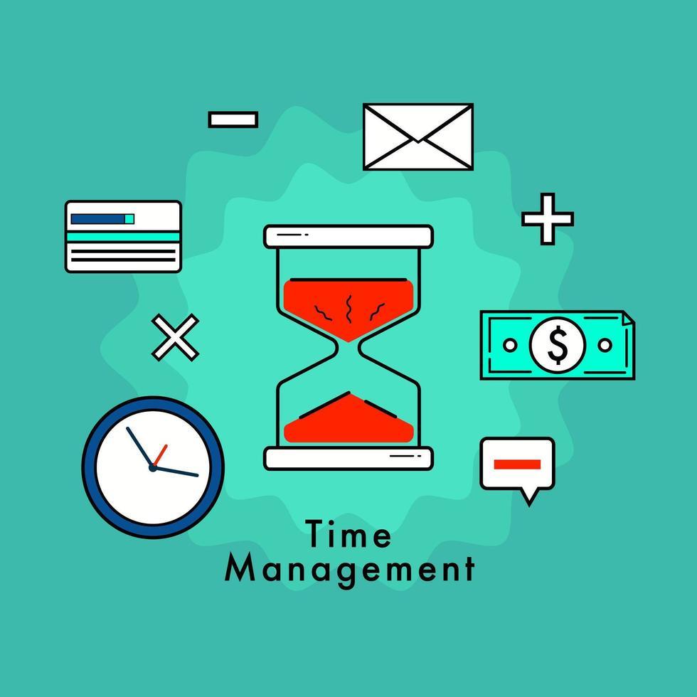 concetto di design piatto di gestione del tempo e di affari vettore