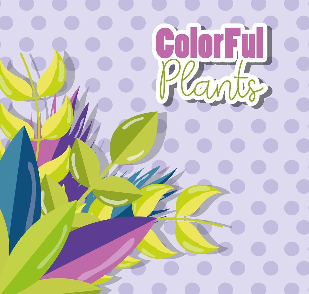 progettazione di piante colorate su sfondo lilla vettore