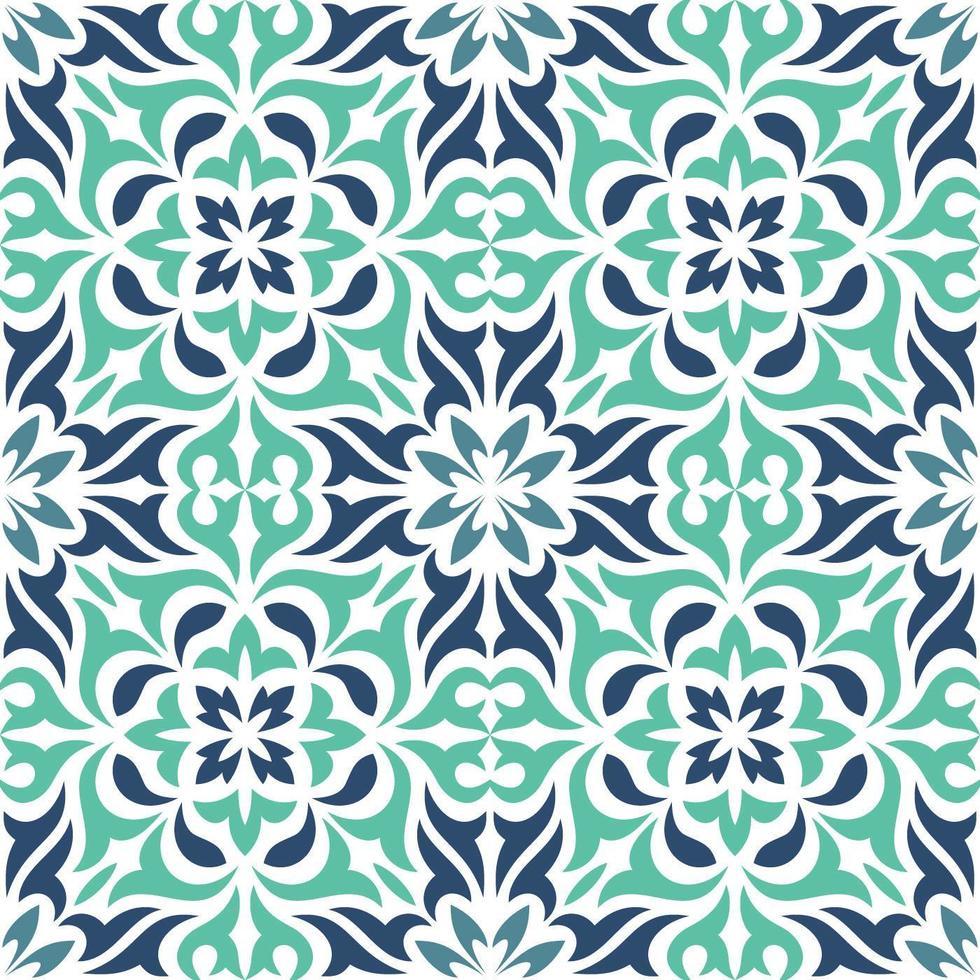 modello decorativo blu delle mattonelle ornamentali vettore