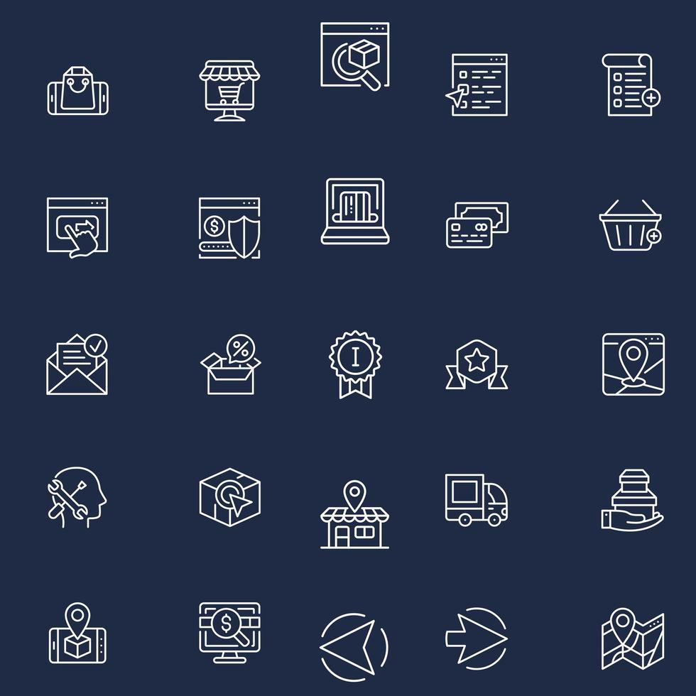 set di icone web contorni e-commerce vettore