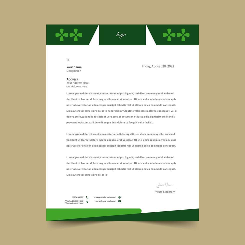 modello di rilievo di carta intestata verde vettore