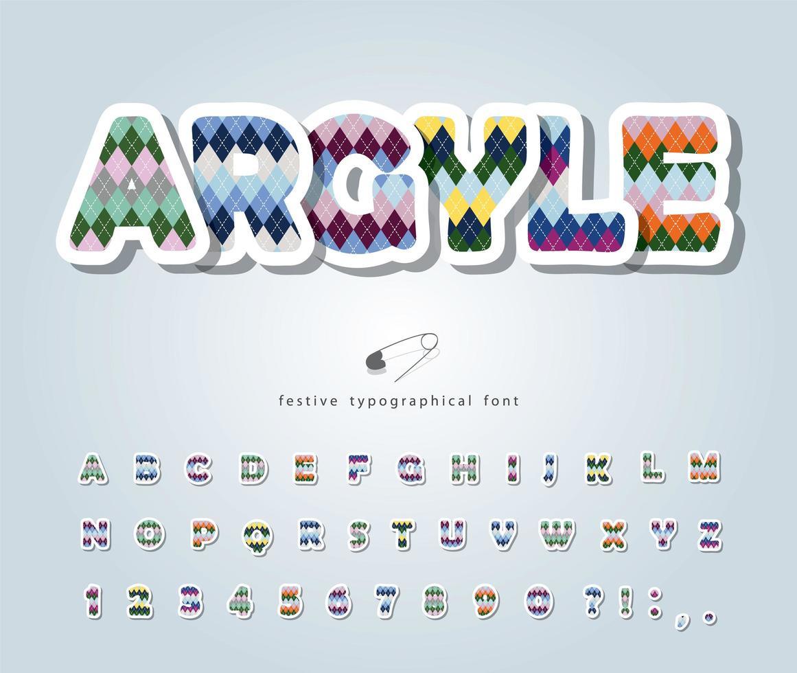 argyle abc lettere e numeri. vettore