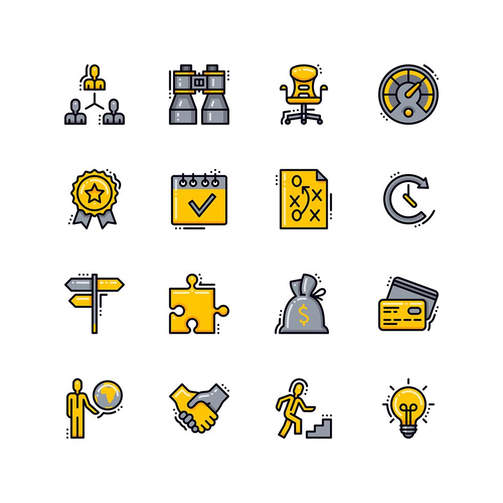 icone di linea piatta di affari vettore
