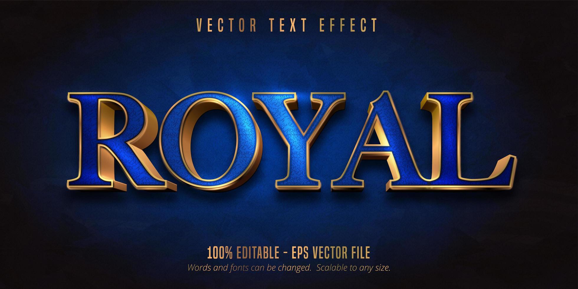 efecto de texto editable de estilo dorado azul y brillante vector