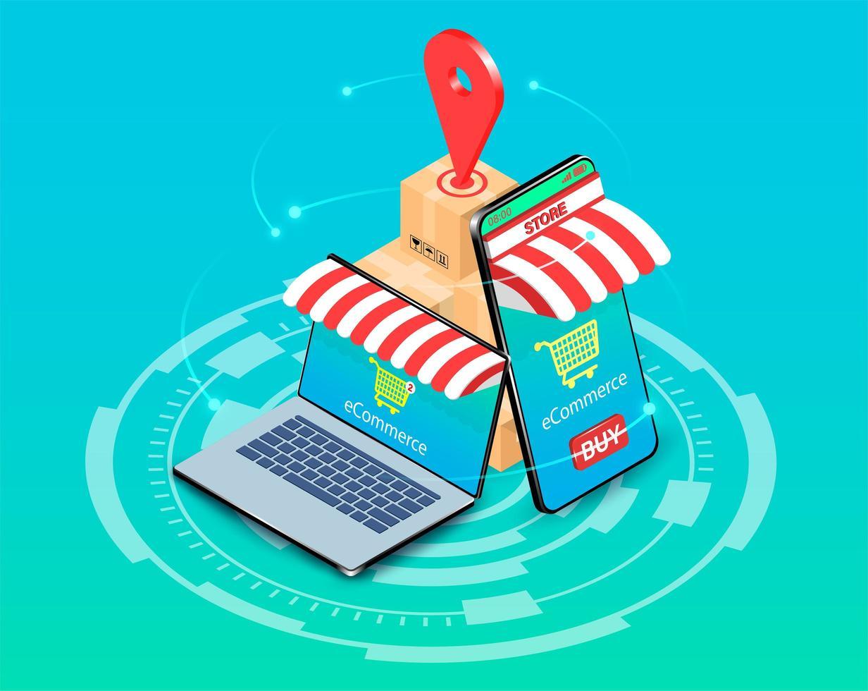 acquisti online su smartphone e laptop vettore