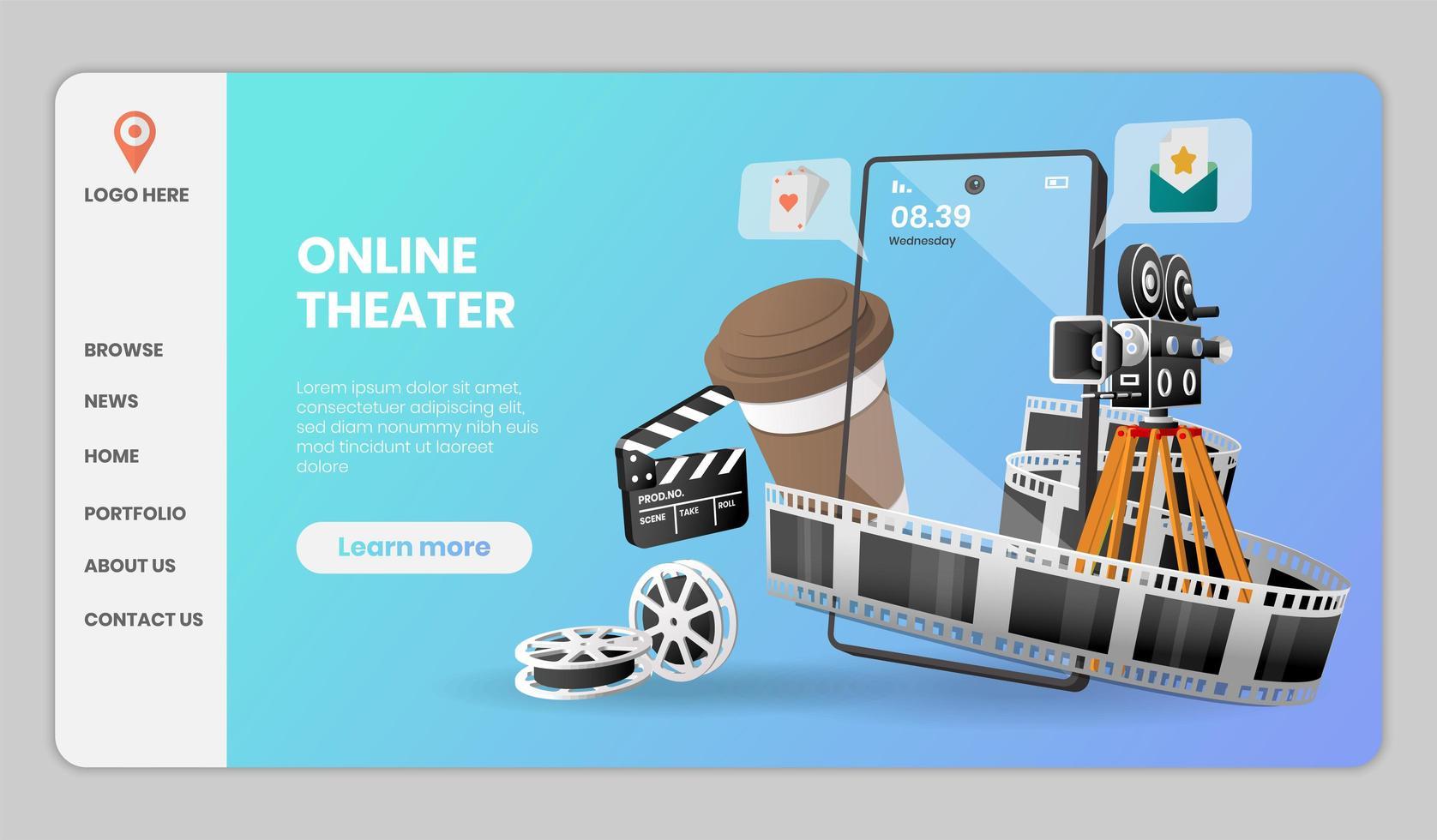 conception de modèle de site Web de théâtre en ligne vecteur