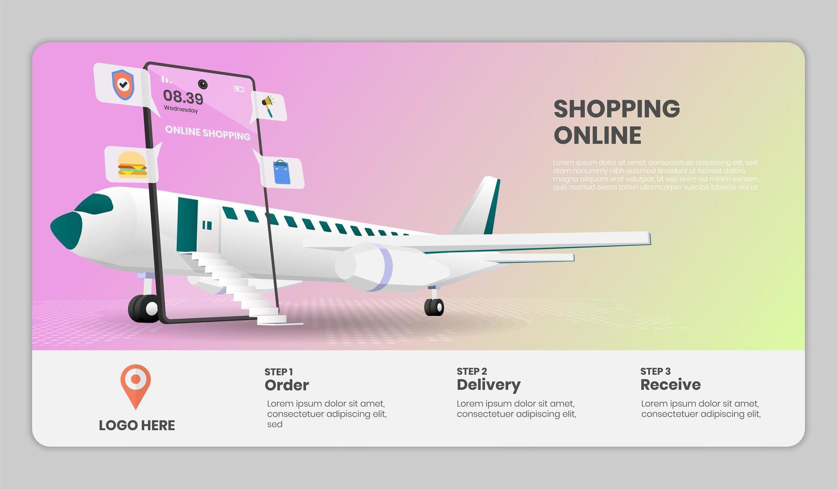 modèle de site Web de magasinage en ligne vecteur