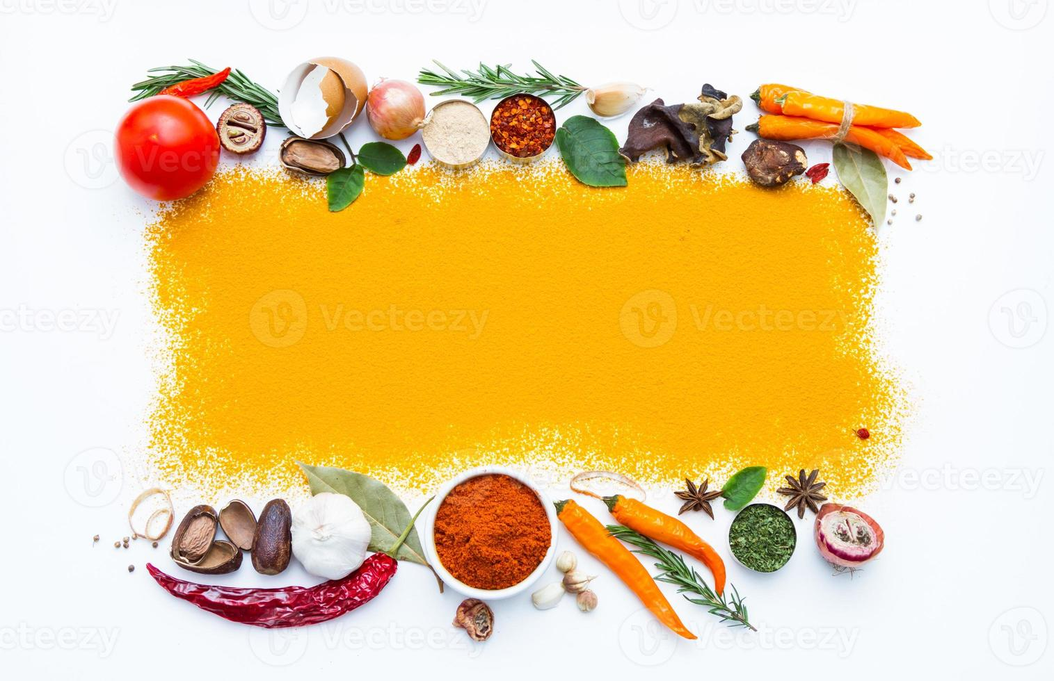 Turmeric spices on white texture background. photo