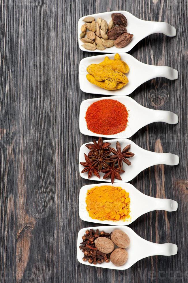 Spices in spoons photo