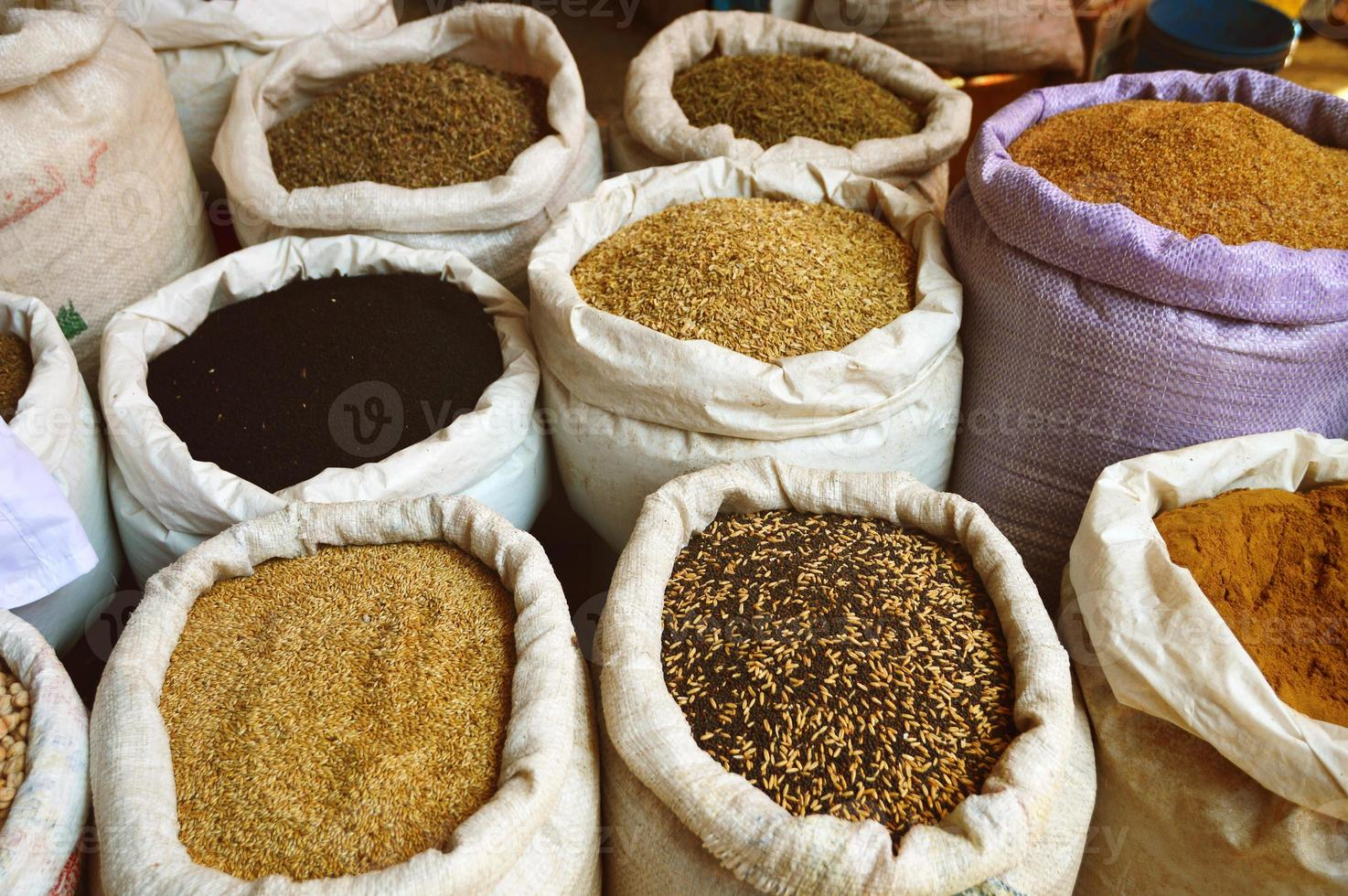 Grain food and spices in Arabic store photo