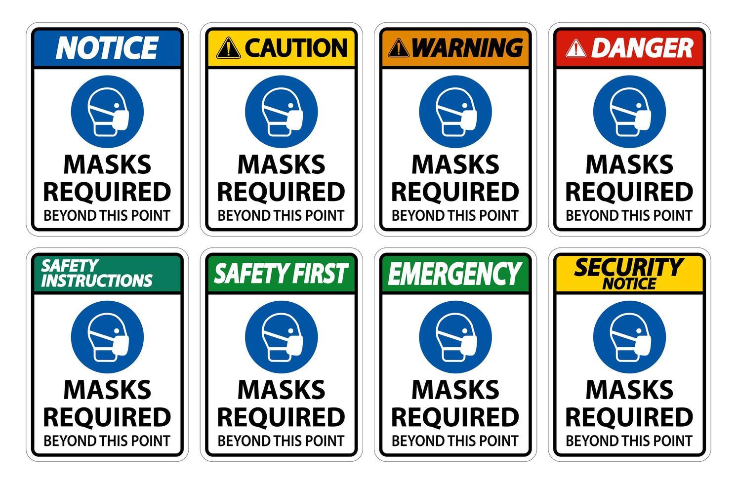 masques requis au-delà de ce jeu de panneaux verticaux vecteur