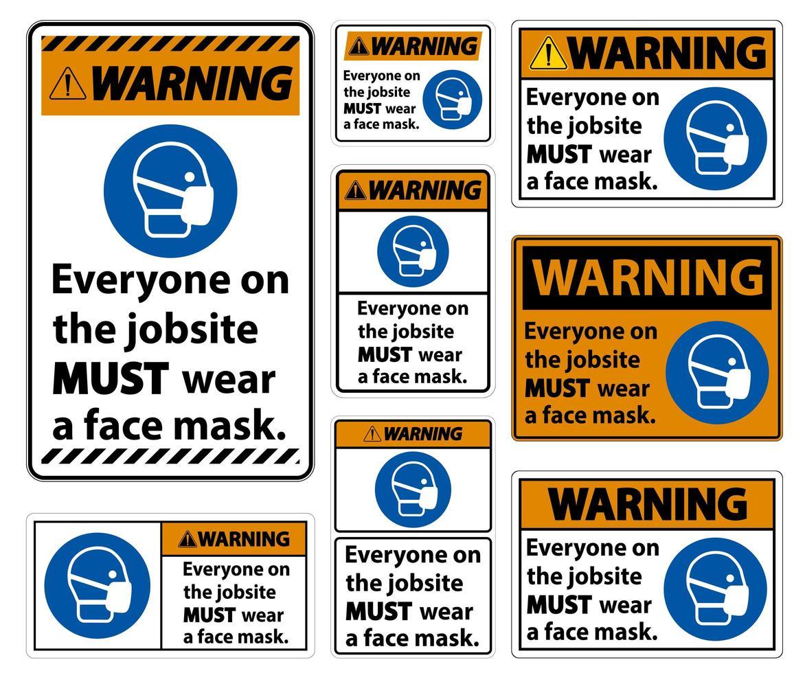 avertissement porter un masque facial signe ensemble vecteur