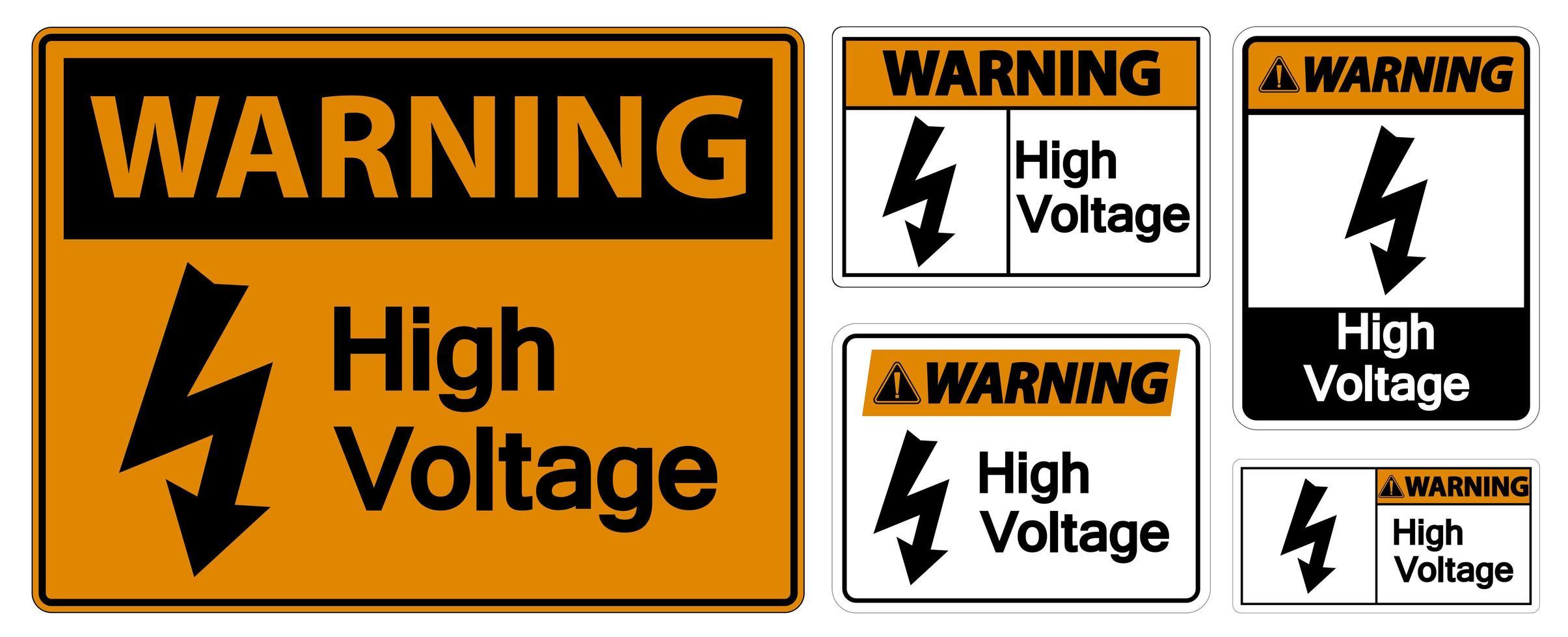 ensemble de panneaux d'avertissement haute tension vecteur