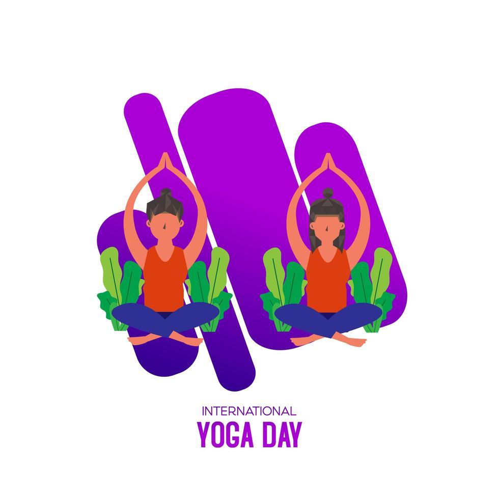 giornata internazionale dello yoga con due donne sedute vettore