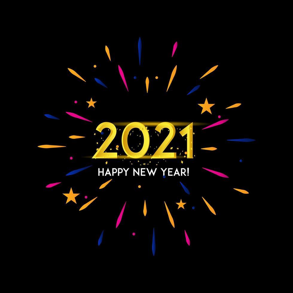 2021 glitter fuochi d'artificio saluto sfondo vettore