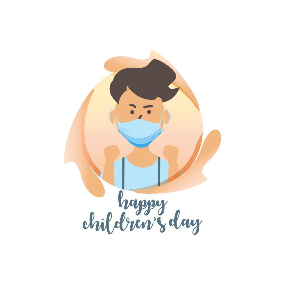 felice giornata dei bambini con ragazzo in maschera vettore