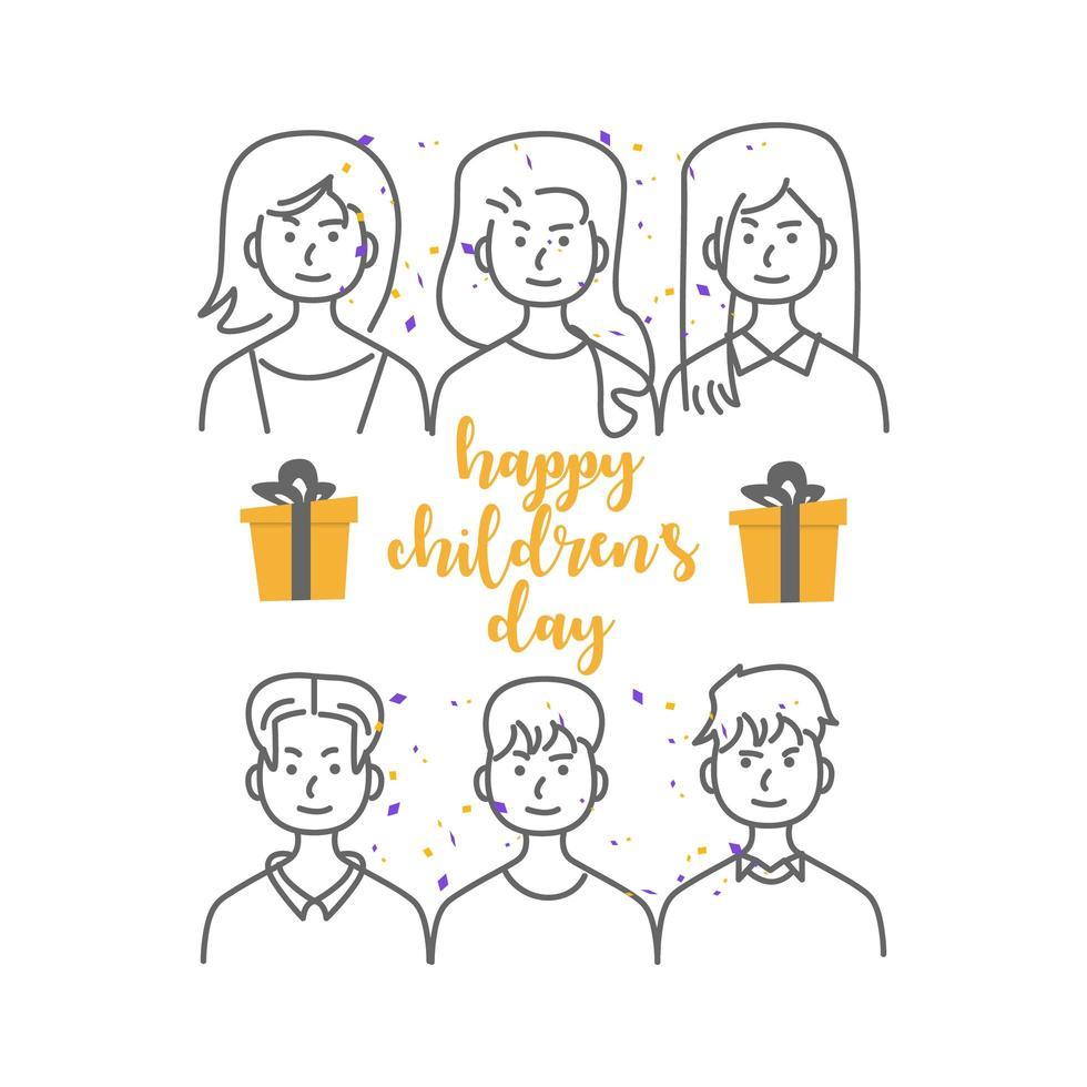 gens de dessin au trait heureux jour des enfants vecteur