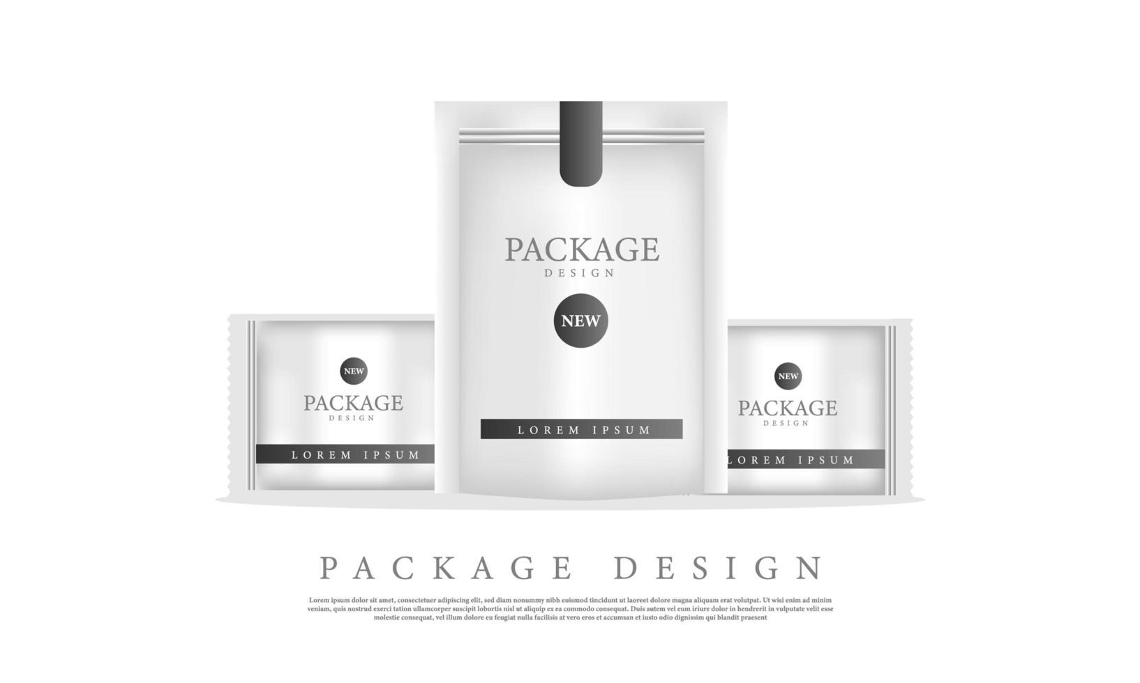 modello di branding del pacchetto mockup vettore