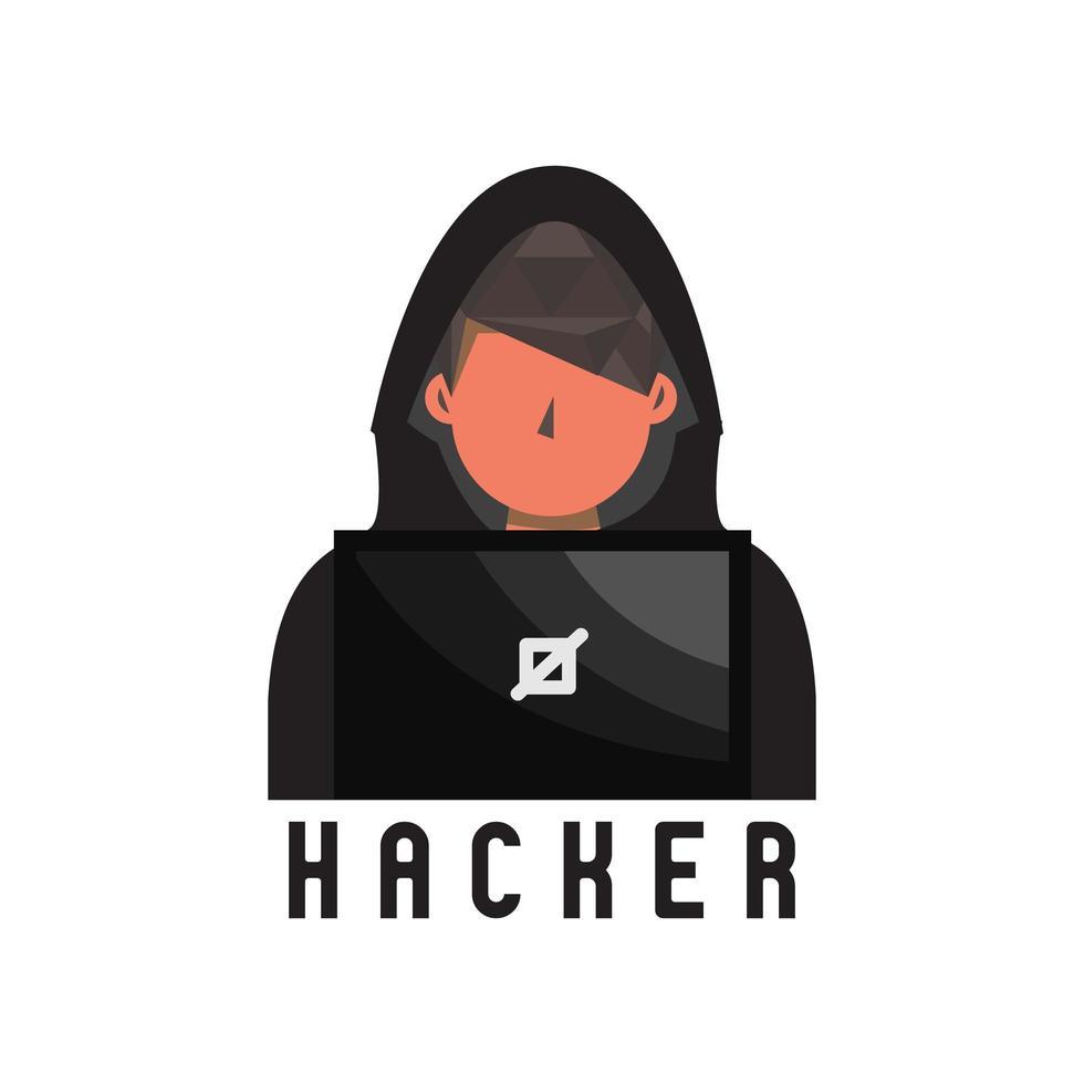 persona incappucciata hacker piatto vettore