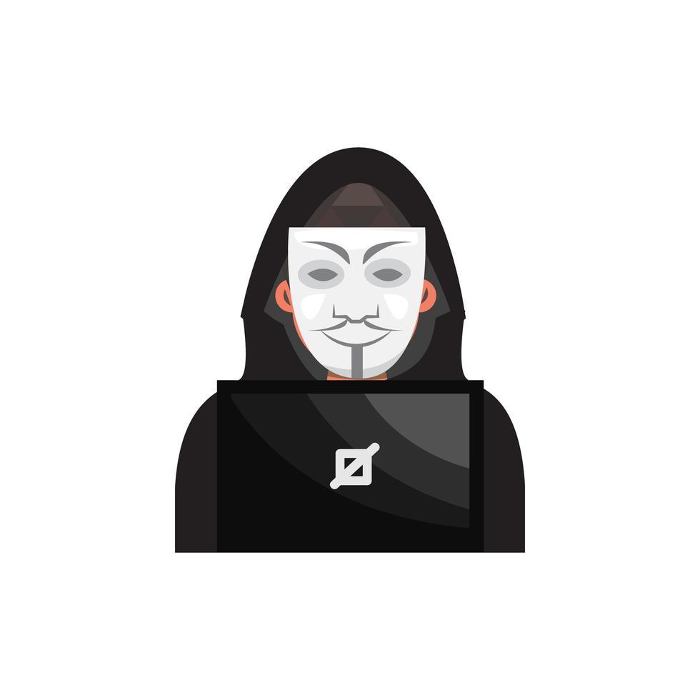 hacker con design maschera su bianco vettore