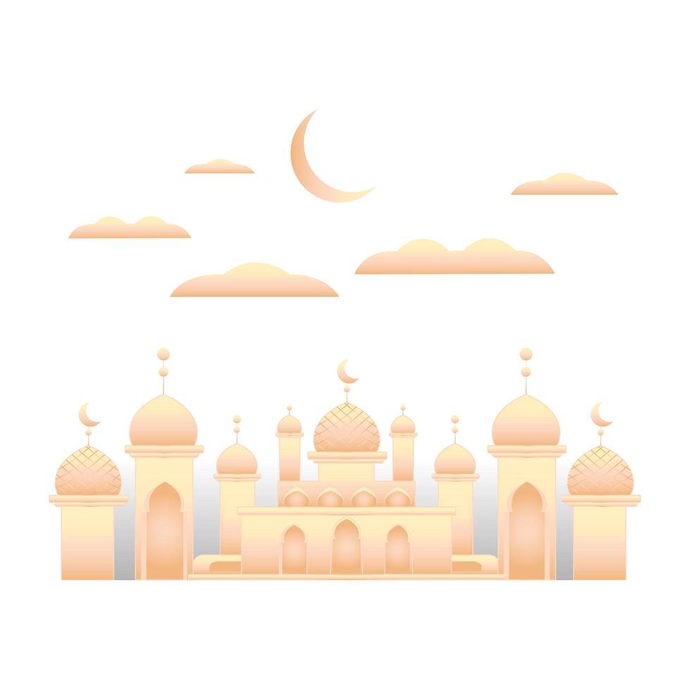 Moschea pastello su sfondo bianco vettore