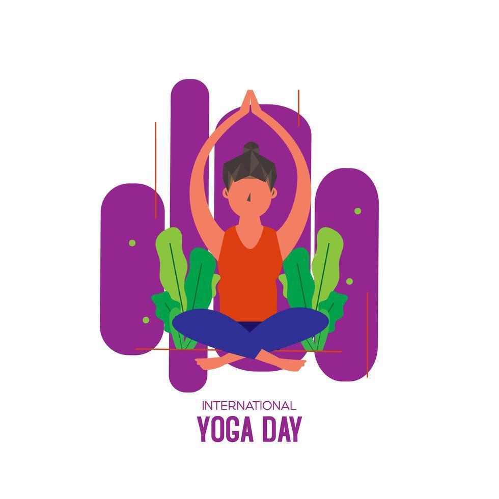 giornata internazionale dello yoga con donna seduta vettore