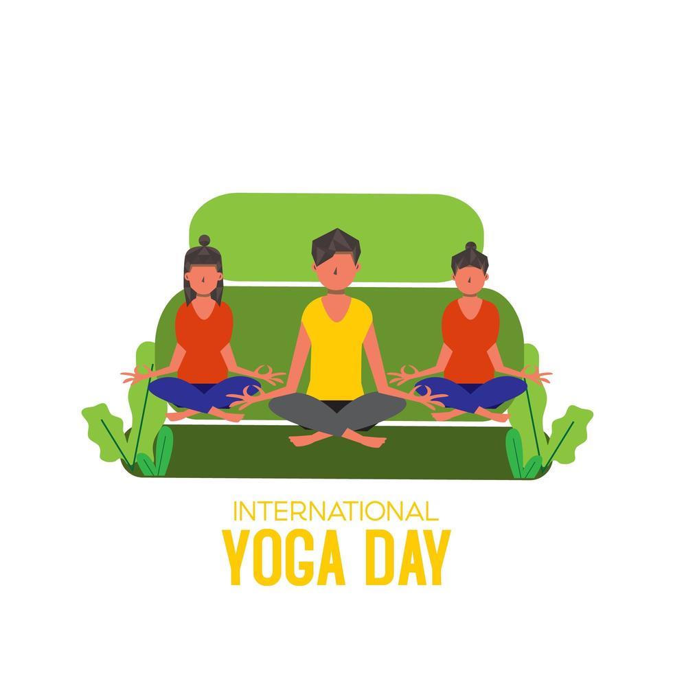 journée internationale du yoga avec des femmes et des hommes assis sur un canapé vecteur