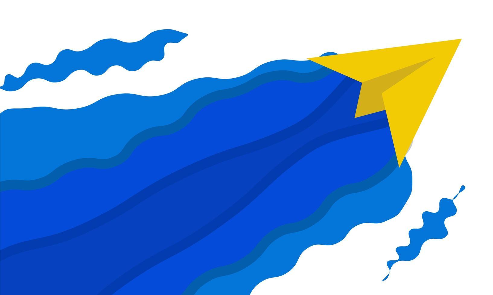 aereo di carta gialla con onde blu astratte vettore