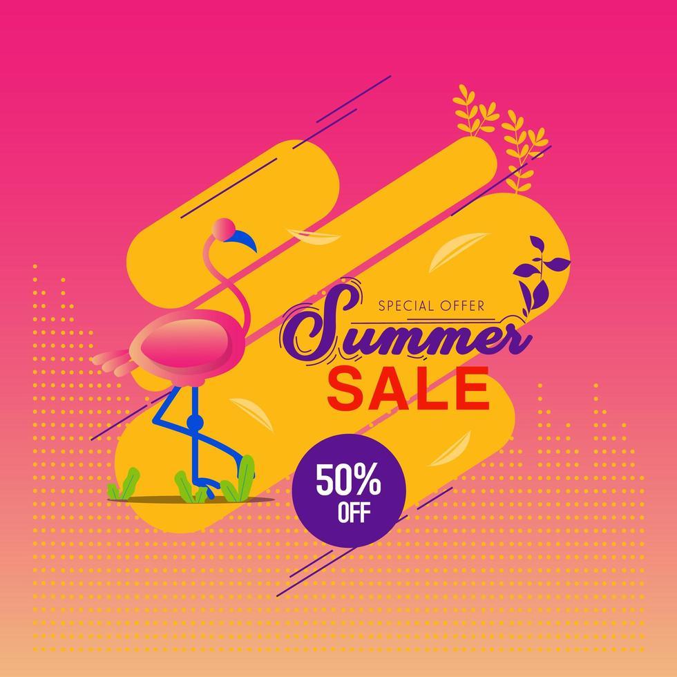 fondo di vendita di estate con il fenicottero vettore