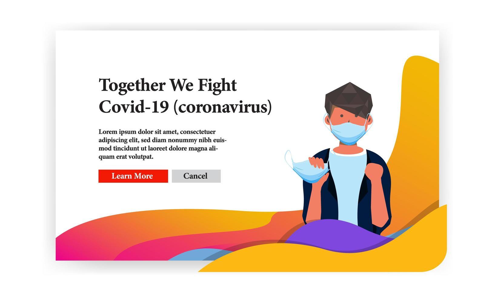 '' insieme combattiamo '' banner covid-19 con uomo e maschera facciale vettore