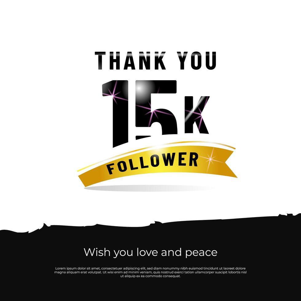 grazie follower 15k sfondo bianco vettore