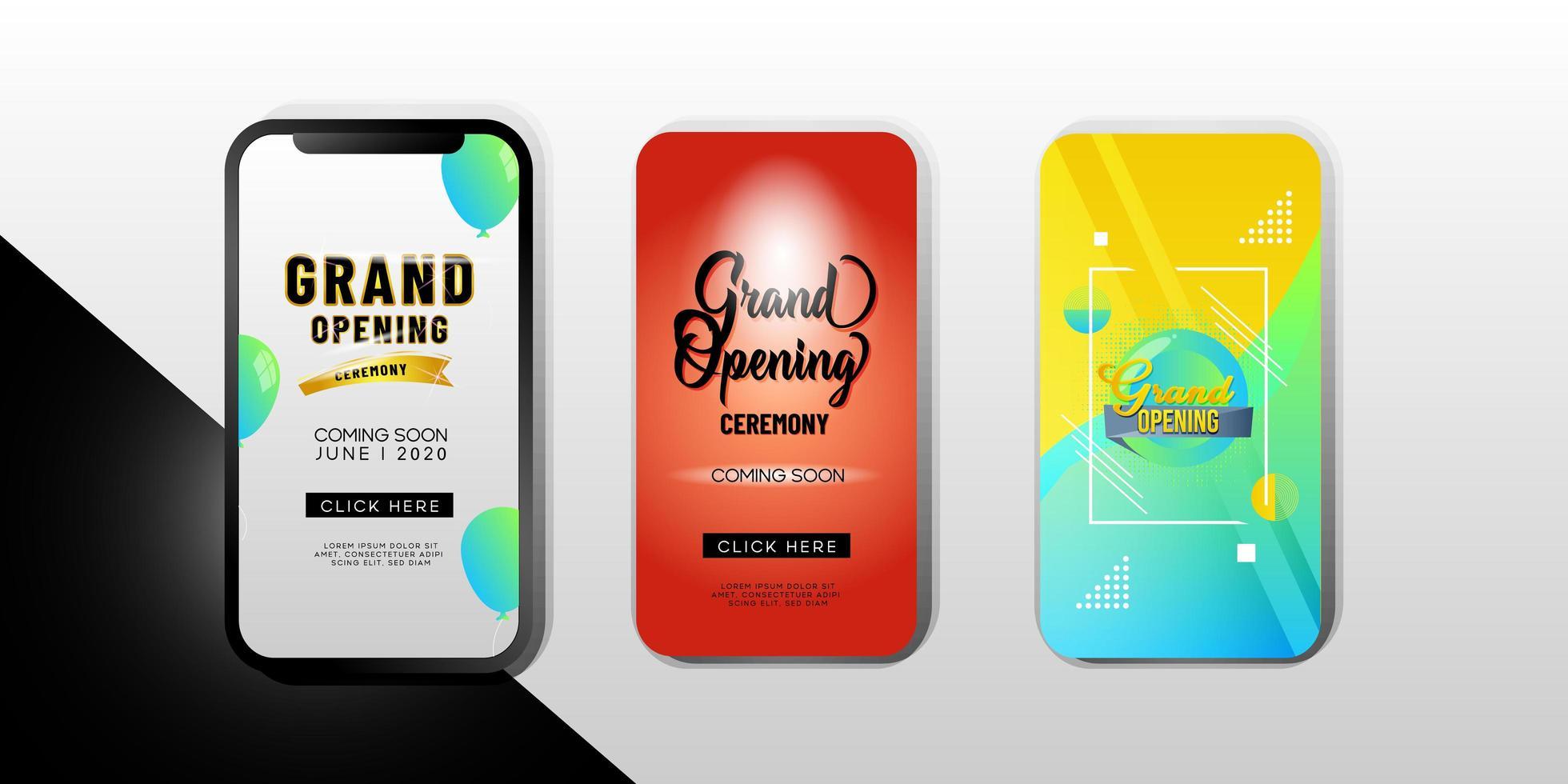 ensemble de modèles de téléphones mobiles `` grande ouverture '' vecteur