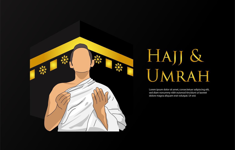 fond de hajj et umrah avec l'homme en prière vecteur
