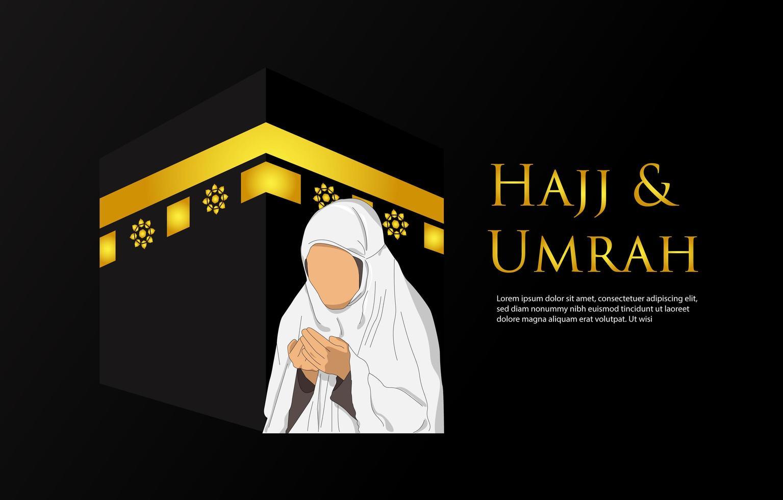 fond de hajj et umrah avec des femmes en prière vecteur