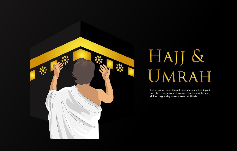 Banner di hajj e umrah con pregare l'uomo da dietro vettore