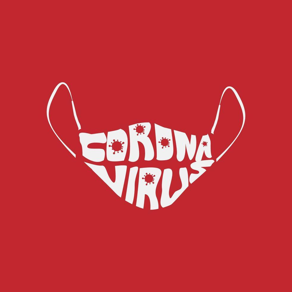 Coronavirus lettering testo nel disegno maschera vettore
