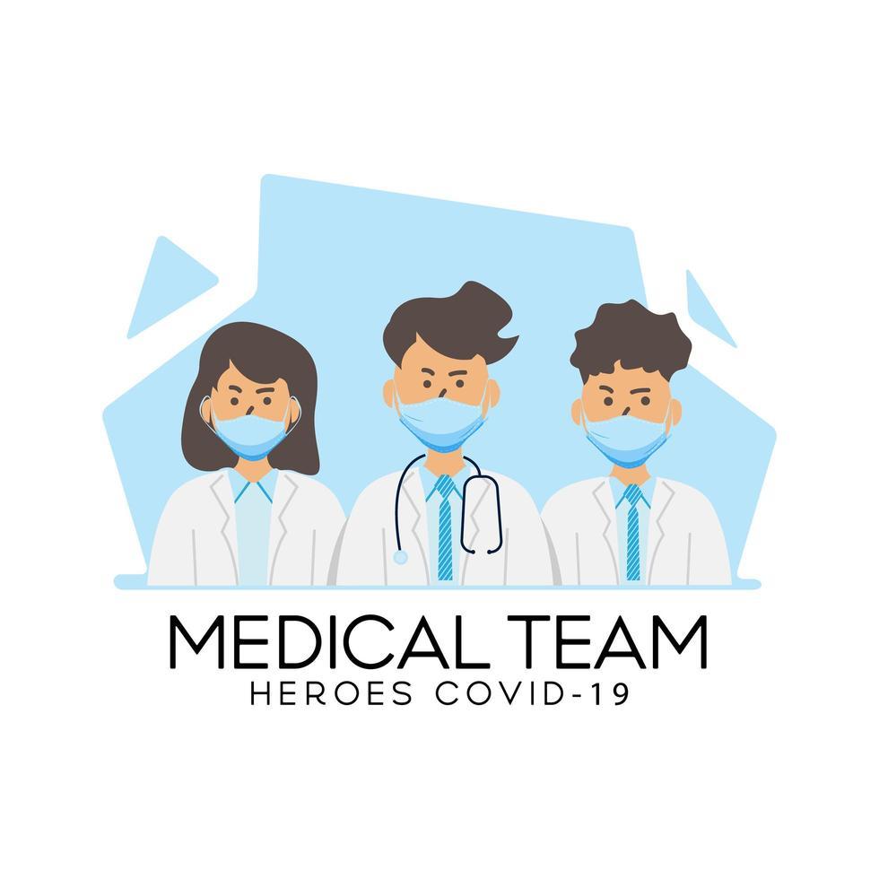 team di personale medico design covid-19 vettore