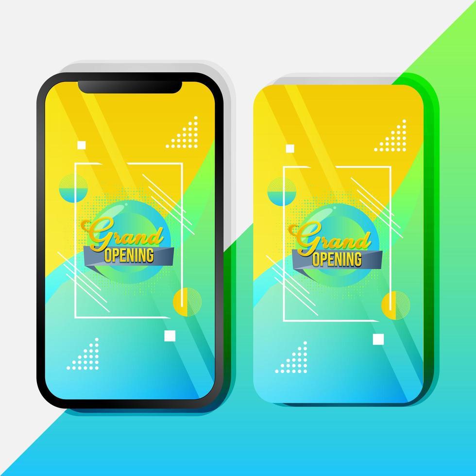 modèle de promotion mobile abstrait coloré grande ouverture vecteur