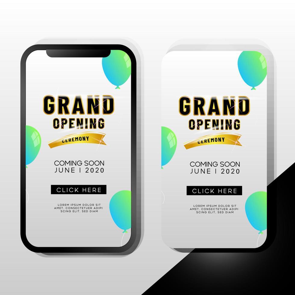 modello di promozione del telefono mobile di grande apertura vettore