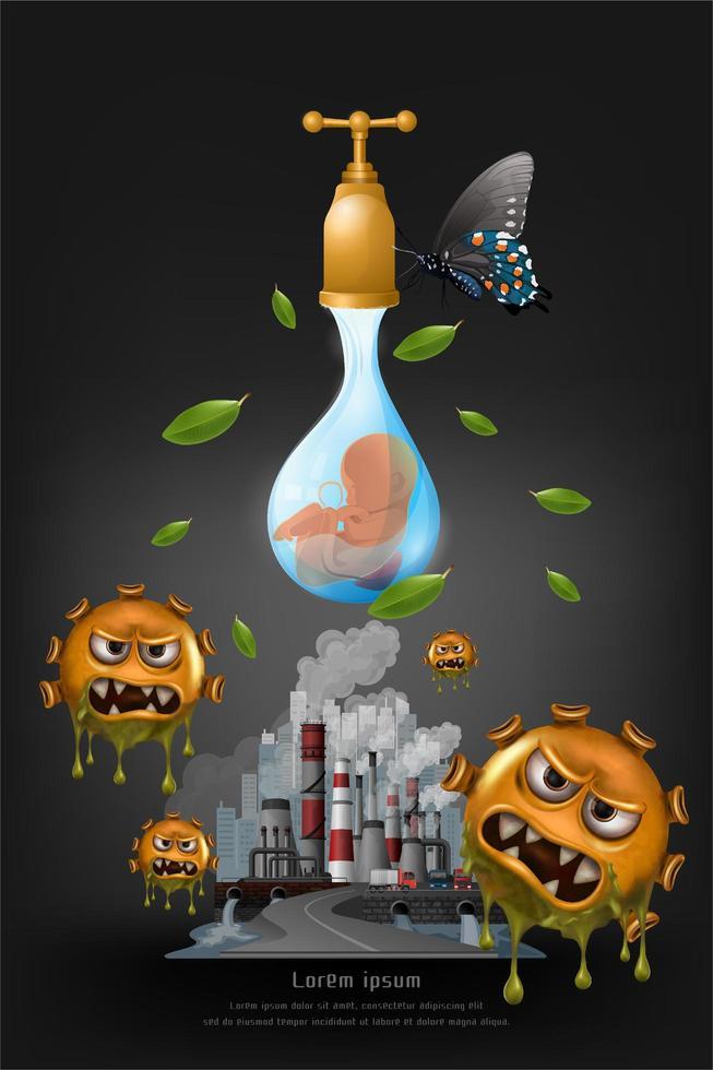 concept de collage de la pollution du réchauffement climatique vecteur