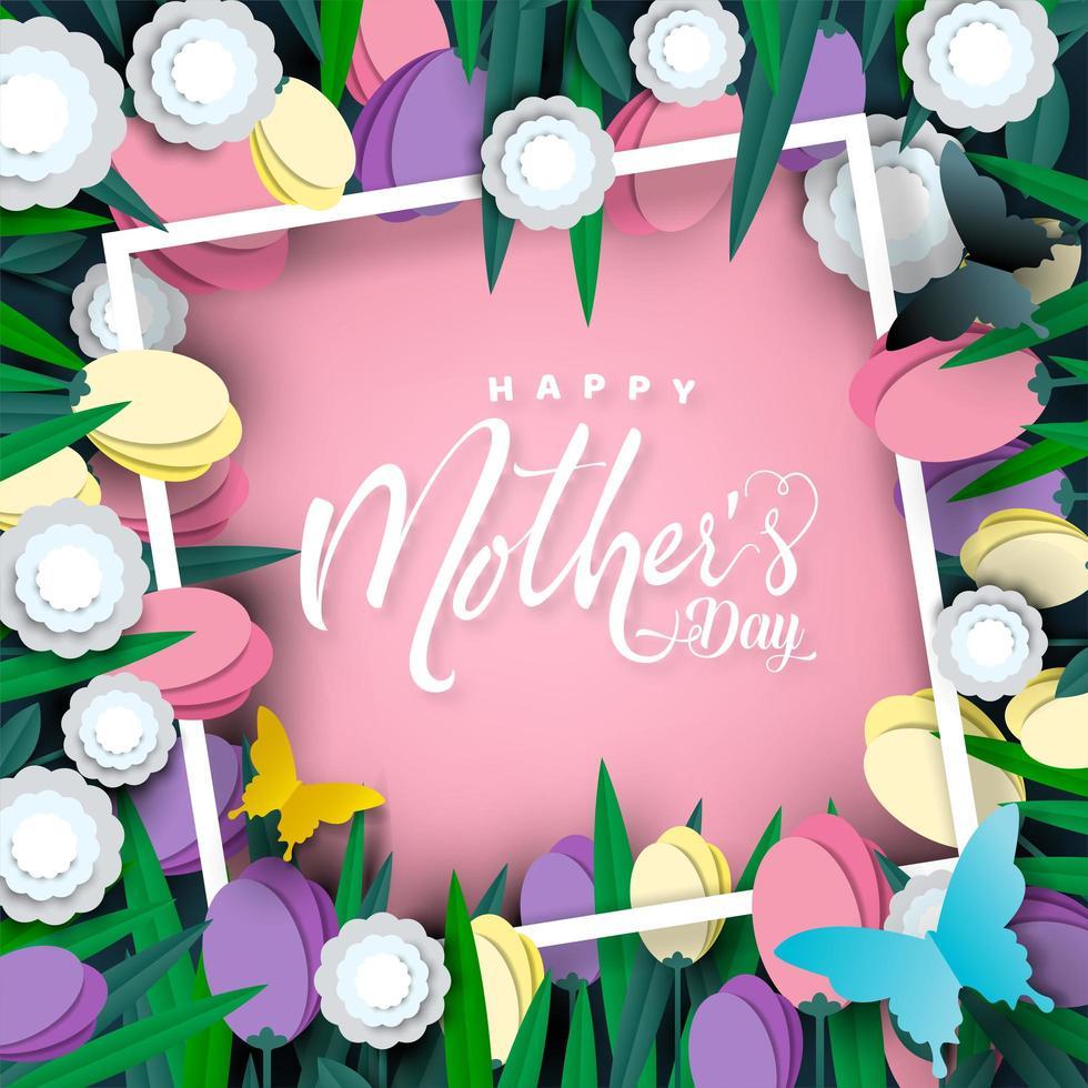 felice festa della mamma tagliare il design del telaio carta fiore di carta vettore