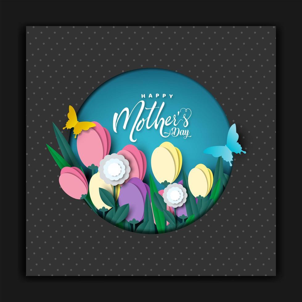 carte de fête des mères heureuse découper la conception de cartes vecteur