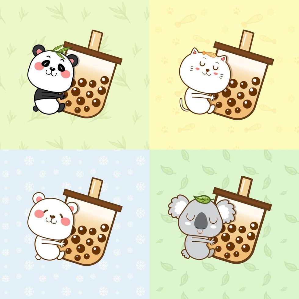 Cute animals hugging a bubble tea cup vector