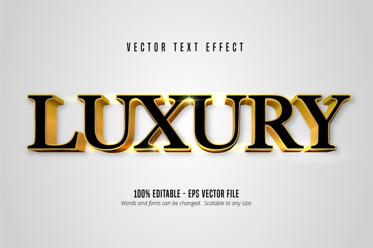 texto editable de estilo dorado brillante de lujo vector