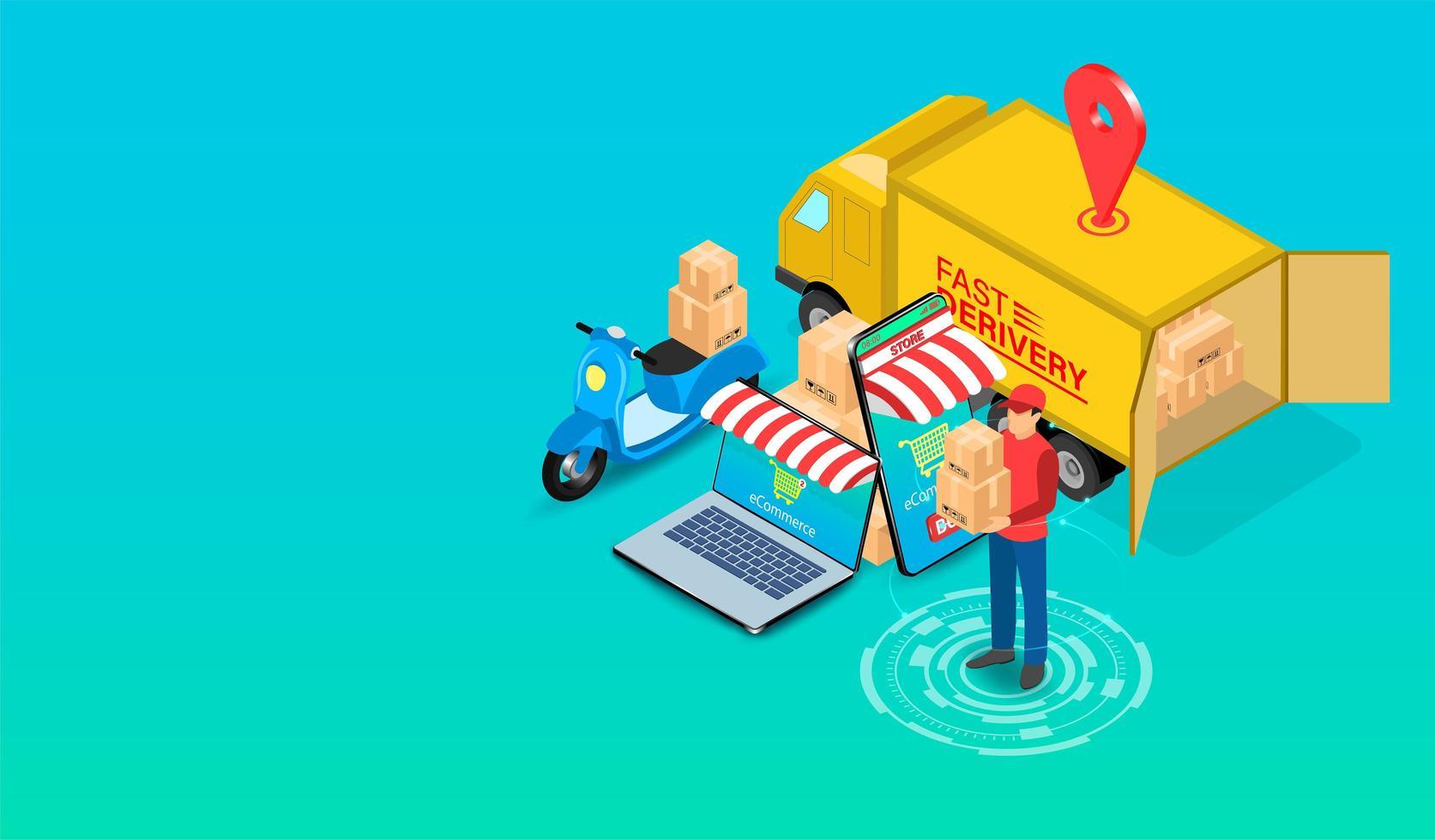 repartidor de comercio electrónico con scooter y camión vector