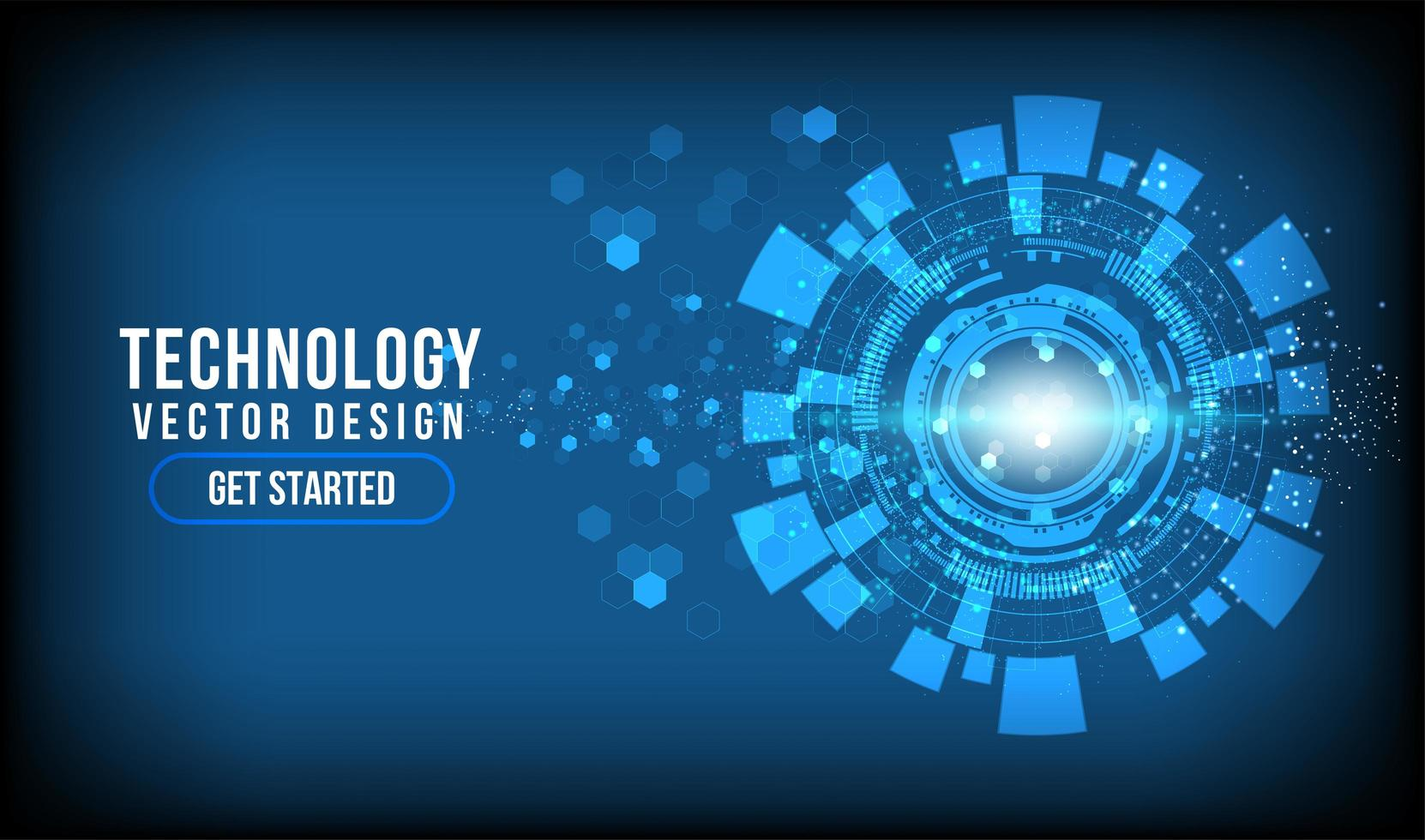 círculo de tecnología abstracta brillante con espacio de copia vector
