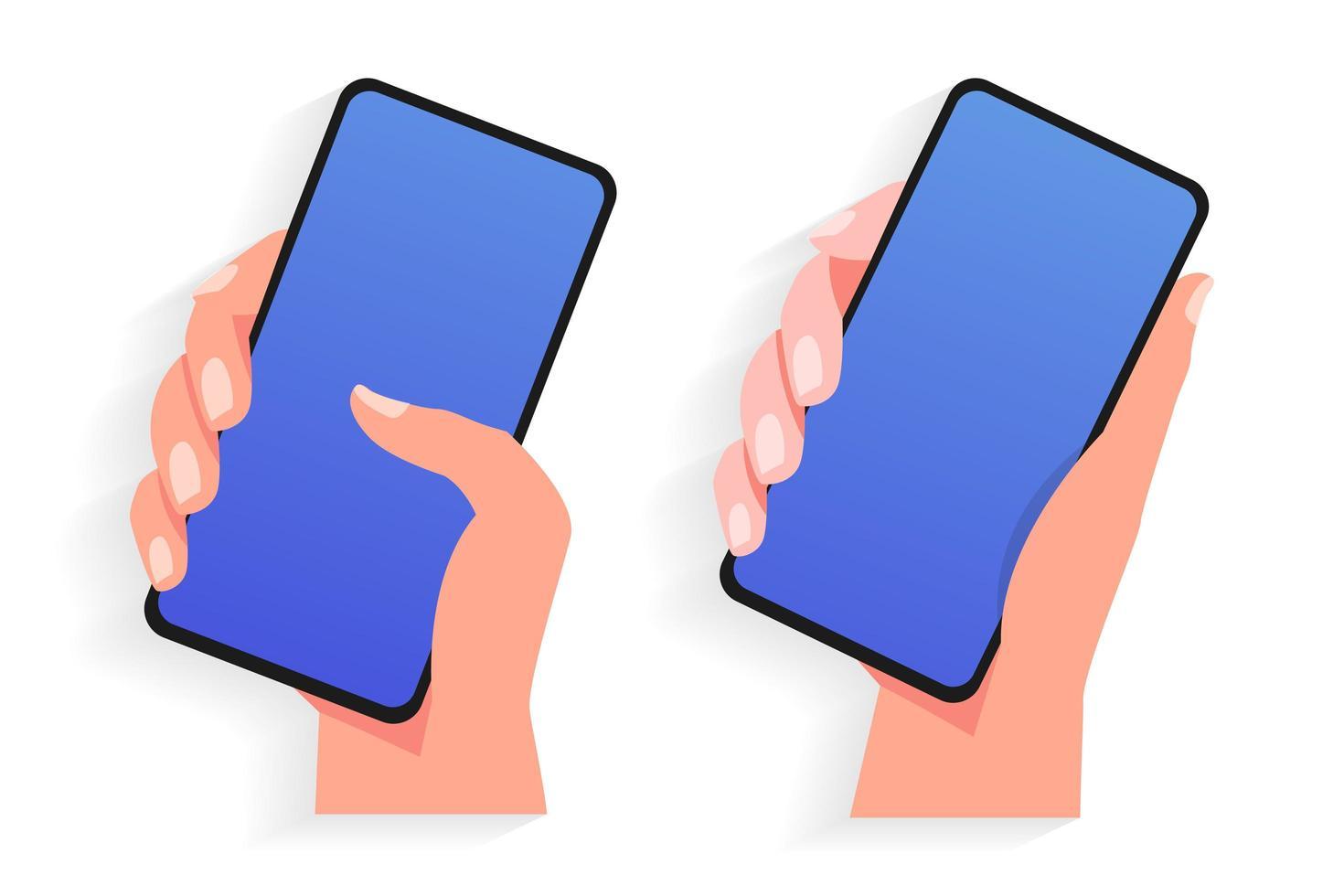 juego de manos sosteniendo teléfono móvil vector