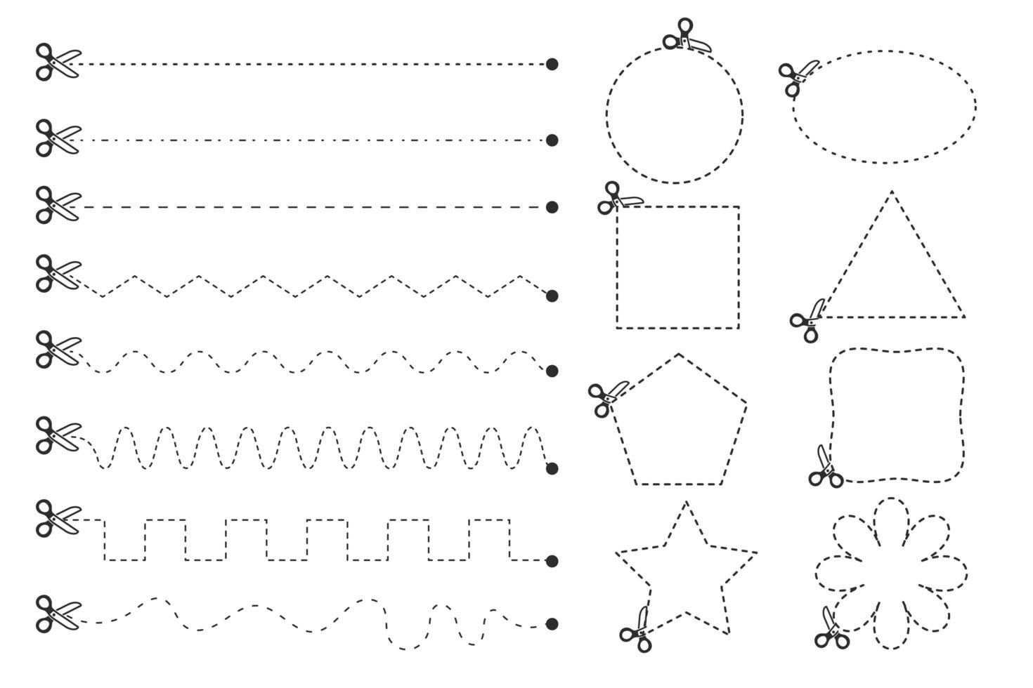 linea tratteggiata forme geometriche con le forbici vettore