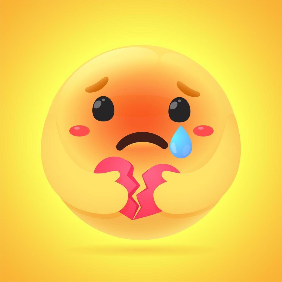 emoji tenant un coeur brisé vecteur