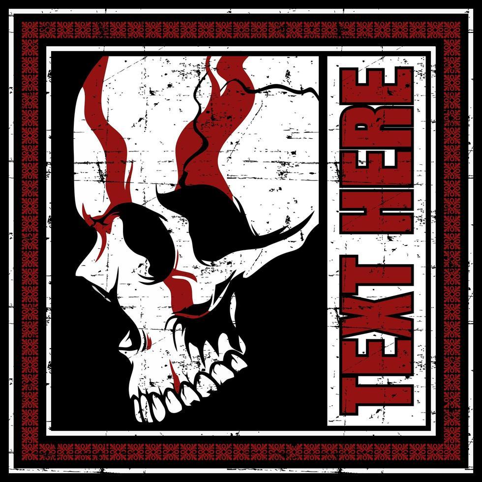 crâne avec un design rouge dans le bloc de texte grunge vecteur
